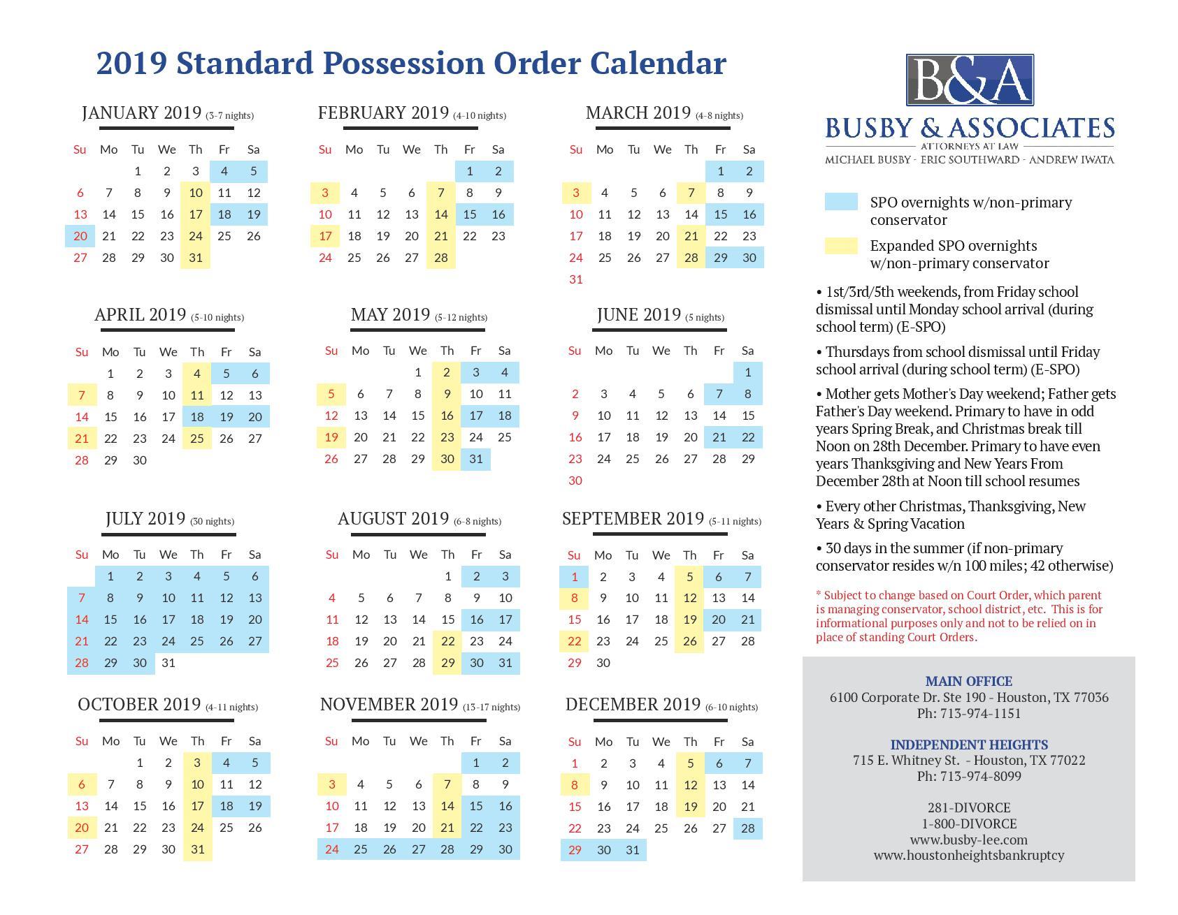 2019 Standard Possession Order & Parenting Time   Houston Divorce